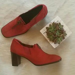 Donald J Pliner red suede Irma heels shoes